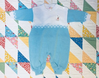 Vintage ELSY Baby Blue White Winter Knit Outfit Pajamas New with Tags // Size 0-6 Mos