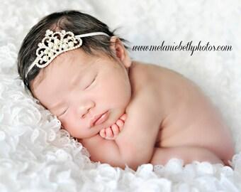Baby Headband, Baby Tiara, Crystal & Pearl Tiara Headband, Princess Tiara, Princess Headband, Newborn Infant Toddler Child Girls Headband