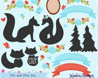 INSTANT DOWNLOAD, fox clipart and silhouette vectors for personal and commercial use