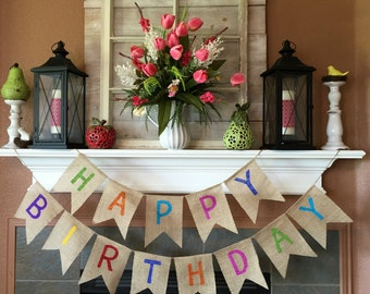 Happy Birthday Banner, Birthday Banner, Burlap Birthday Banner, Personalized Birthday Banner, Birthday Party Decoration, Happy Birthday Sign