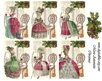Digital Art Sale Design, Collage Sheet Marie Antoinette Christmas Scrapbook Embellishment, Instant Download