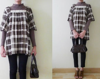 Japanese VTG 90's long sleeves brown t-shirt, 2 layers blouse, cotton jersey tunic, plaid,stand collar,double layers,high neck,autumn, S-M-L