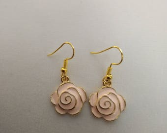 Pink Rose flower Floating Enamel Gold filled earring Fashion Jewelry