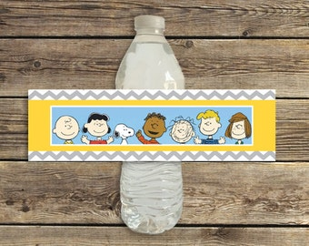 Peanuts Gang birthday party water bottle labels printable instant download