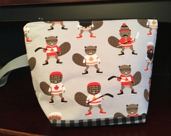Canada, eh? Hockey Beavers, Zippered Knitting Project Bag