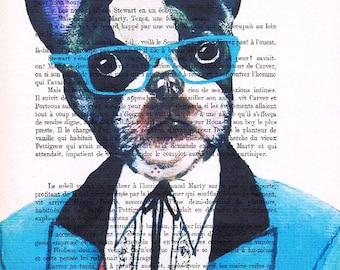 Original Illustration Digital Print Mixed Media  Art Poster Acrylic Painting Holiday Decor Drawing Gifts: Blue Glasses French Bulldog