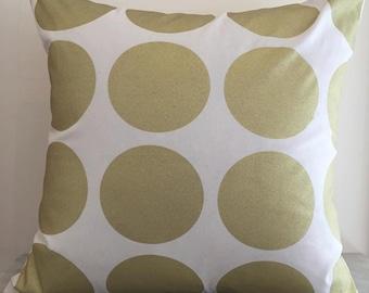 Metallic Gold Spots on Natural Canvas Cushion Pillow