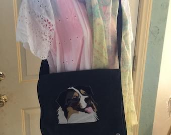 Australian Shepard embroidered messenger bag fits kindle ,shoulder purse