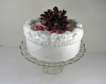 Antique PRESSED Glass CAKE STAND Scallop Rim Tiny Starburst & Coin Dot Pastry Display