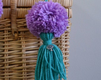 Lavender and Turquoise  Pom Pom & Tassel Clip-on with Tree Charm -  Keychain, Beach Bag or Backpack Flair Clip