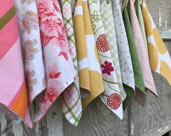 Floral Cloth Napkins-Garden Party-Upcycled Linens-Set of 12