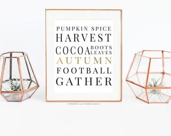 Fall Printable - Printable - Autumn Quote - Wall Art - Autumn, Harvest, Football, Sweaters - Pumpkin Spice - Autumn Print - Happy Fall Y'all