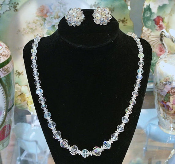 Crystal Necklace Earrings / Matching Set / Wedding / Bride / Jewelry