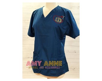 Monogrammed Nurse Scrub Top Nursing Medical Apparel Doctor Scrubs  Personalized Embroidered with Nursing Love design