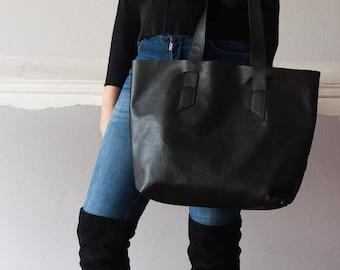 Black pebbled leather tote bag, raw edge shopper simple purse unlined bag shoulder large market everyday tote bag - Calisto bag