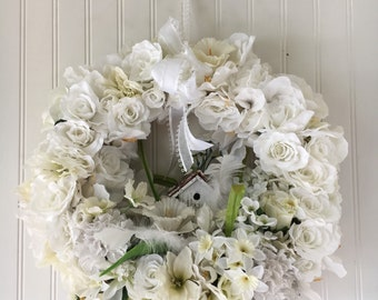 White flower wreath - white floral wreath - white Spring wreath - shabby chic wreath - front door wreath - Mother's day gift - Spring wreath