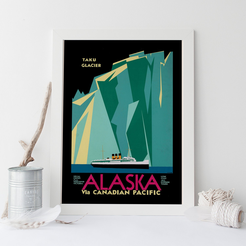 ALASKA Reisen Poster Art-Deco Print USA Reisen Print Art Deco