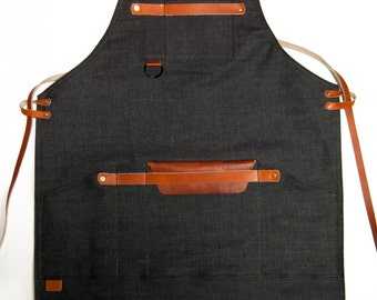 Shop Apron with Cross Back Strap - Denim, Raw Denim, 14oz Denim, Leather