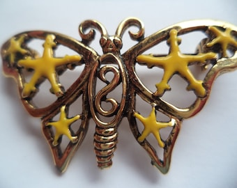 Vintage Signed Danecraft Goldtone/Yellow Openwork Butterfly Brooch/Pin   Rare