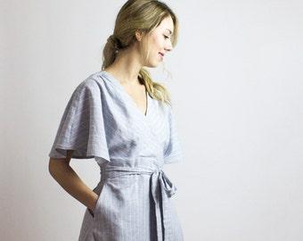 Joan Organic wrap dress, Stripe Cotton & Hemp blue tea length dress, Sustainable fashion spring dress