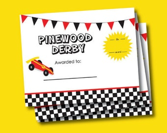 cub scout pinewood derby award certificate 8x10inch instant digital download - Pinewood Derby Certificate Templates