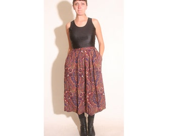 Vintage 1980s Pinnacle Pockets Ankle Length Paisley Skirt size S