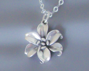 Sterling Silver Lily Necklace, Flower Necklace, Gift Boxed