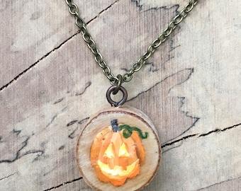 Jack O'Lantern - Hand Painted Necklace