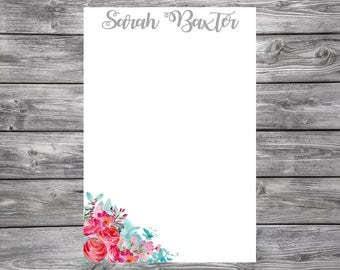 Notepad-Personalized-Blue and Pink Flowers-4x6