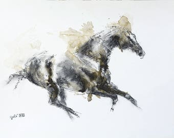 Charcoal Drawing of a Galloping Horse, Contemporary Original Fine Art, Figurative Art, Animal Art, Equine Artist