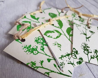 Set of 6 Handmade Luxury Green Flowers Gift Tags. Birthday Gift Tags, Wedding Gift Tags, Alternative Gift Tags, Unique Gift Tags. Gardening.