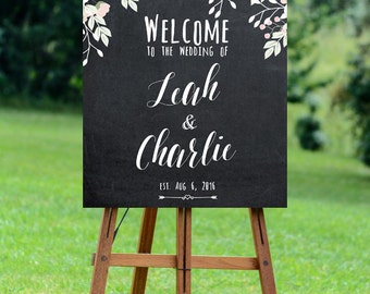 printable wedding sign, custom wedding sign, welcome wedding sign, chalkboard wedding sign, wedding signage, 16x20, 24x30