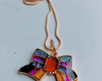 Rainbow Bow Resin Cast Pendant Goldtone Necklace