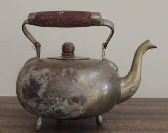 Indian Brass Teapot, Vintage Metal Teapot, Brass Teapot