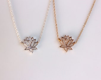 Silver or Gold Silhouette Lotus Necklace, Flower Stand Necklace, Dainty Necklace, Bridesmaid, Layering Jewelry, Nature Flower Necklace