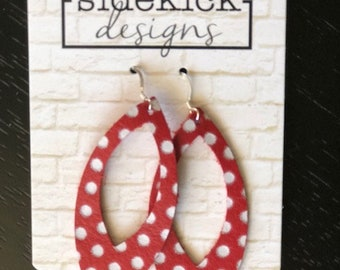 Red and white dot leather cut out earrings