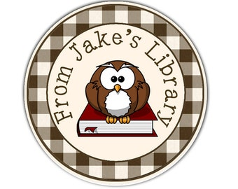 24 STICKERS Personalized Bookplates, Owl Book Labels, This Book Belongs To Labels, Childrens Bookplate Stickers, Book Stickers (61)