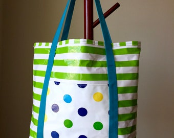 Large Oilcloth Beach/Pool Bag  Green & White striped lined Tote