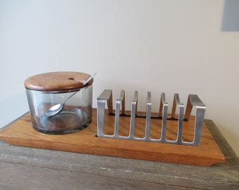 Vintage Mid Century Modern Glass and Teak Breakfast Tray, Toast and Jam Caddy, Teak Organizer