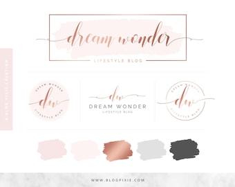 Rose Gold Logo Design - Watercolor Logo - Blog Header - Brand Kit - Branding Package - Watermark - Business Logo - Photography - Wedding