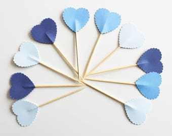 10 blue hearts for Cupcakes (cupcake toppers) decorations - wedding