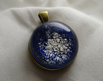 Galaxy Cremation Glass & Antique Brass Pendant
