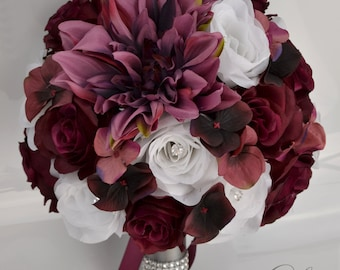Wedding Bouquet, Silk Flowers, Bridal Bouquets, Wedding Decoration, 17 Piece Package, MARSALA, SANGRIA, BURGUNDY, Silver, Lily of Angeles
