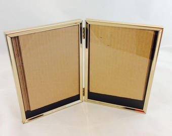 Vintage Double Picture Frame  5 x 7, Double Hinged Gold Tone 5 x 7 Frame