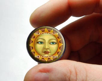 Sun Face Glass Cabochon - Design 2 - for Jewelry and Pendant Making