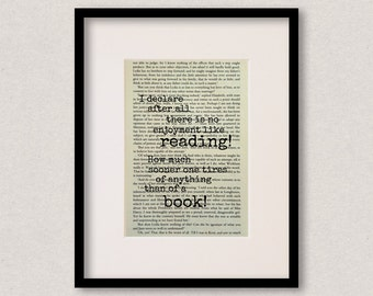 """Pride And Prejudice quote print - Gift for reader - Gift for book lover - Teacher gift - Mothers Day gift - """"I declare after all..."""""""