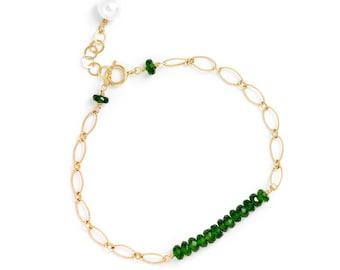 Chrome Diopside Gemstone Bar Bracelet in 14k GF, Green Stone Bracelet, Chrome Diopside Bracelet