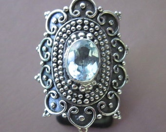 Balinese  Sterling Silver Traditional style Topaz Ring / request your size / silver 925 / Bali jewelry /(#4r)