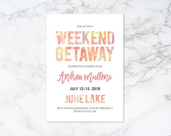 Printable Weekend Getaway Bachelorette Invitation