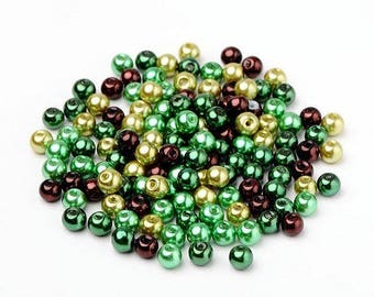 LOT 50 primer jewelry 6 mm new green glass round beads